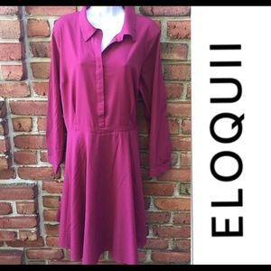ELOQUII Long Sleeve Dress Cranberry size 18